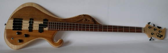 woodcarved bass guitar